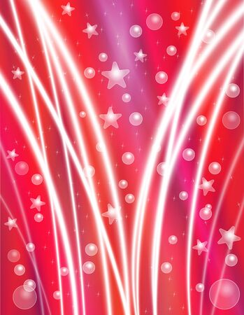 special effects: Festive Red Celebration Background with Stars, Bubbles and Light Beams