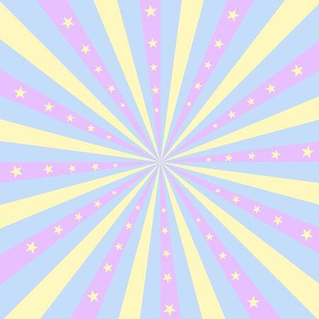Vierkant ontwerp met pastelkleurige strepen die uit het midden uitstralen, met gele sterren. Stock Illustratie