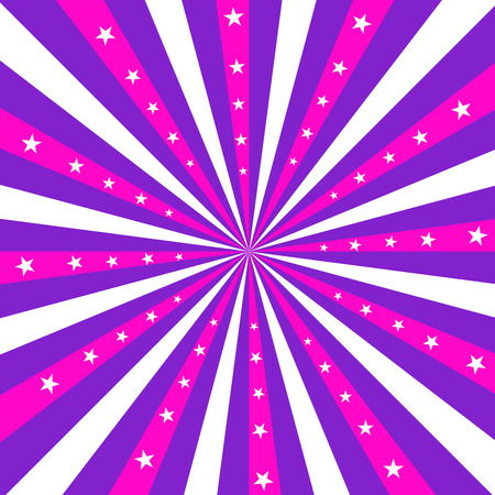 Square design featuring pnk, purple and white stripes radiating out from the center, with white stars.