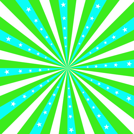 turqoise: Square design featuring aqua blue and lime green stripes radiating out from the center, with white stars. Illustration