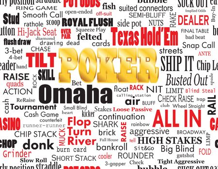 vernacular: Poker Word Cloud with Industry Vernacular, Seamless, over White Illustration