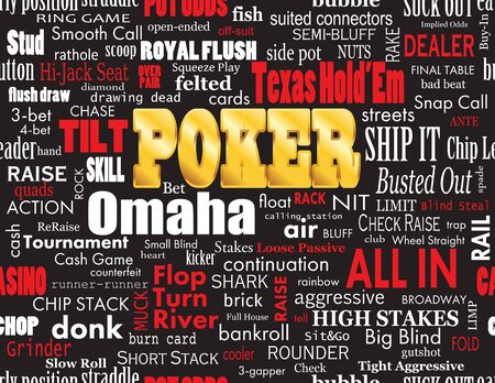 Poker Word Cloud with Industry Vernacular, Seamless over Black