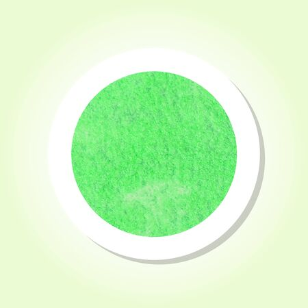 Green Watercolor texture inside a round sticker with a drop shadow and pastel background. Use for labels, speech, sale tags.