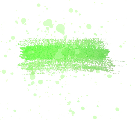 Green watercolor dry brush strokes and translucent paint splatters.