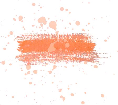 Orange watercolor dry brush strokes and translucent paint splatters.