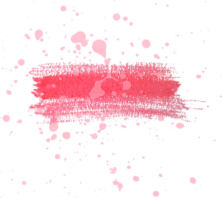 Red watercolor dry brush strokes and translucent paint splatters.