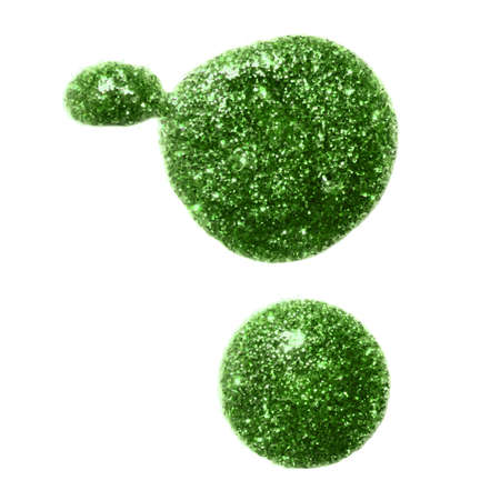 peridot: Two green metallic glitter paint blobs for your design background. Illustration