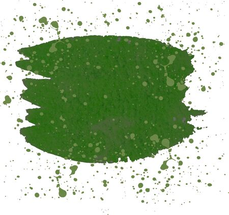 Green watercolor brush strokes and translucent paint splatters. Illusztráció