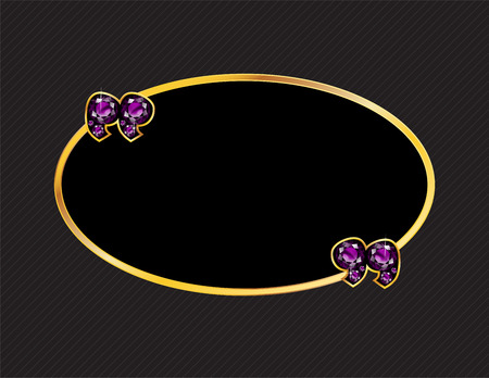 Amethyst Stone Quotes on Gold Metal Speech Bubble over Pinstripe Background Illustration