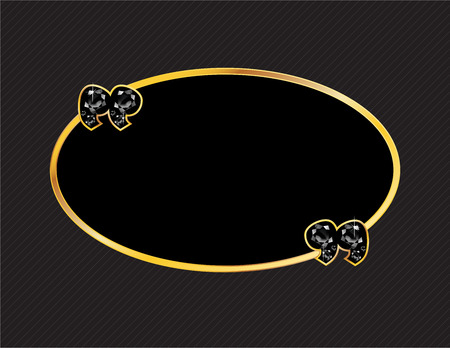 jewel box: Onyx Stone Quotes on Gold Metal Speech Bubble over Pinstripe Background