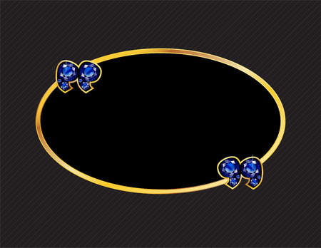 sapphire gemstone: Sapphire Stone Quotes on Gold Metal Speech Bubble over Pinstripe Background