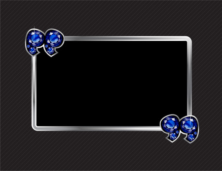 jewel box: Sapphire Stone Quotes on Silver Metal Speech Bubble over Pinstripe Background Illustration