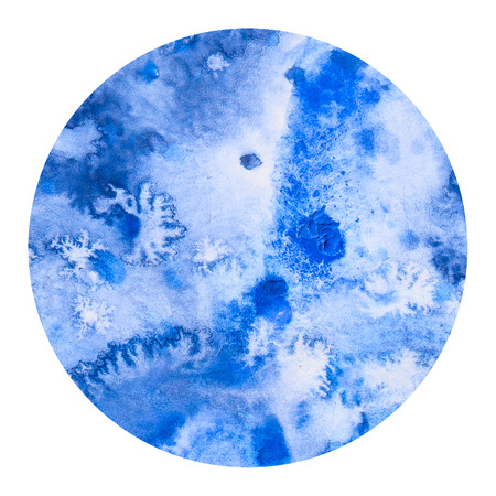 exciting: Abstract blue colorful watercolor wash with the salt technique, round sticker.