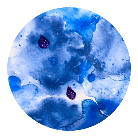 and technique: Abstract blue colorful watercolor wash with the salt technique, round sticker.