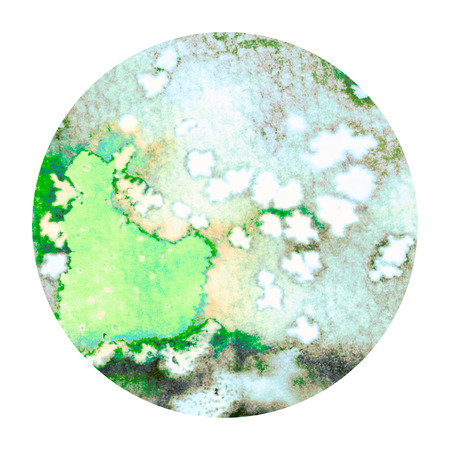 salt water: Abstract green colorful watercolor wash with the salt technique, round sticker. Stock Photo