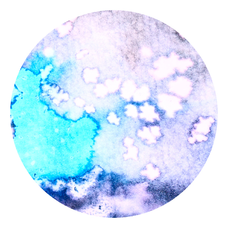 salt water: Abstract blue and lavender colorful watercolor wash with the salt technique, round sticker.
