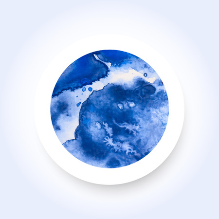 Abstract blue colorful watercolor wash with the salt technique, round sticker.