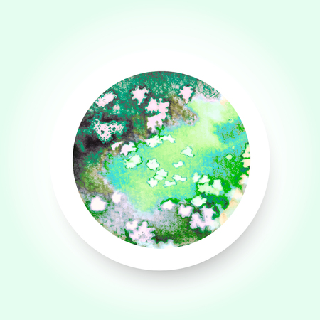 salt water: Abstract green colorful watercolor wash with the salt technique, round sticker. Illustration