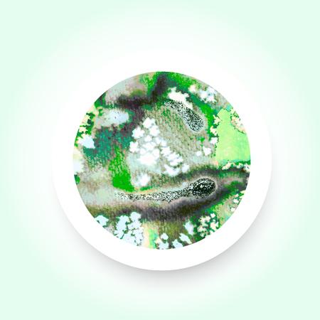 techniek: Abstracte groene kleurrijke aquarel wassen met het zout techniek ronde sticker.