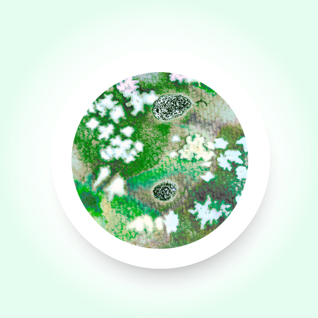 excite: Abstract green colorful watercolor wash with the salt technique, round sticker. Illustration