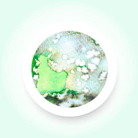 exciting: Abstract green colorful watercolor wash with the salt technique, round sticker. Illustration
