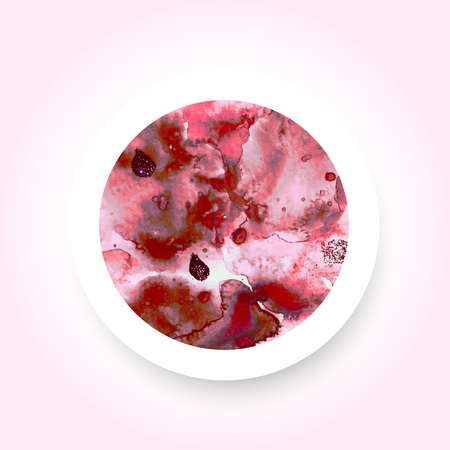 Abstract red colorful watercolor wash with the salt technique, round sticker. Ilustração