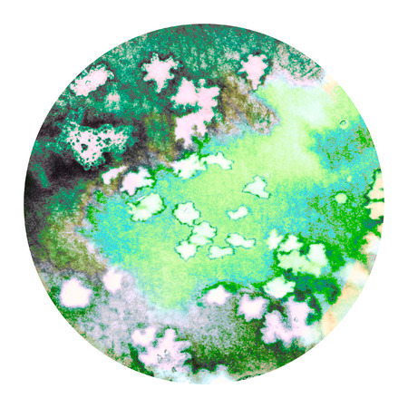 Abstract green colorful watercolor wash with the salt technique, round sticker. Stock Photo