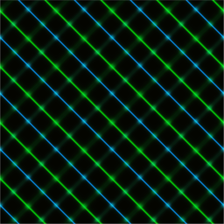 Green and blue neon crossed stripes over a black background, seamless.