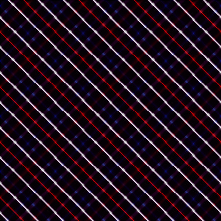 Red, white and blue neon crossed stripes over a black background, seamless.
