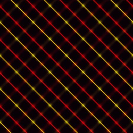 Red and yellow neon crossed stripes over a black background Illustration