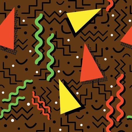 ブラウンの上の秋の色とファンキーなシームレスなメンフィス スタイル デザイン。
