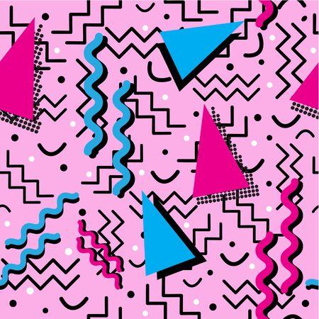 楽しいファンキーなシームレスなメンフィス スタイルのデザインは、ピンクの色します。