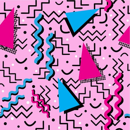 A funky seamless Memphis style design with fun colors, over pink. Vectores