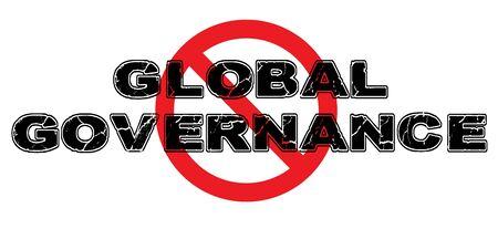 Ban Global Governence sign on white background. Иллюстрация
