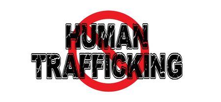 Prohibir el tráfico de personas, la práctica de usar humanos contra su voluntad para realizar todo tipo de trabajo y servicio sexual. Foto de archivo - 74352257