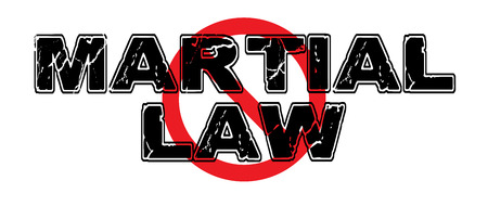 Ban Martial Law, a totalitarian governments imposition of restrictions on the populace, involving suspension of ordinary law with military enforcement. Illustration