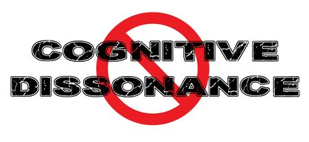 Prohibir la disonancia cognitiva, en la que las ideas personales entran en conflicto con la realidad, creando así malestar y ansiedad. Foto de archivo - 74347488