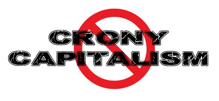 Ban Crony Capitalism, een systeem waar voorkeursbehandeling en gunsten een anderszins eerlijk systeem domineren. Vector Illustratie