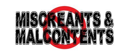 Ban Miscreants & Malcontents, ongelukkige mensen die veel klagen. Stock Illustratie