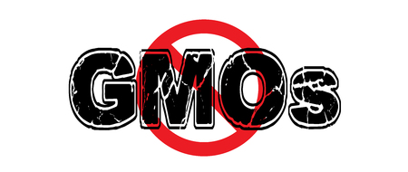 Ban Genetically Modified Organisms, food that is tampered with and is unhealthy for animatls and humans. Illustration