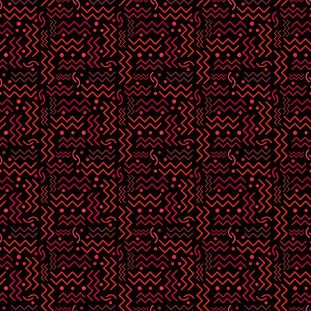 A funky seamless red Memphis style design on black. 向量圖像