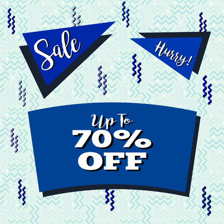 Funky sale flyer in Memphis style, with seamless background design in pastel blue tones.