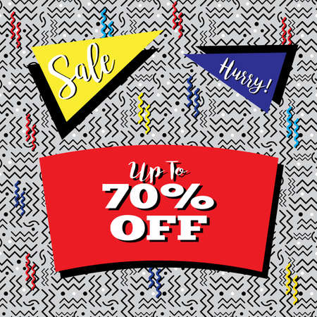 Funky sale flyer in Memphis style, with seamless background design in black, white and gray.