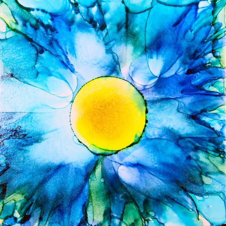 Blue floral design with yellow center, artwork done with alcohol ink on ceramic substrate.
