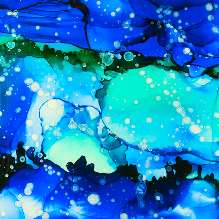 Stunning alcohol ink composition reminiscent of a seascape.