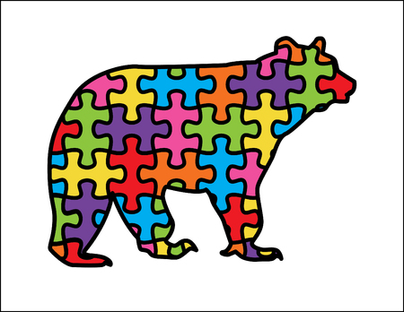 Cute Mama Bear with autism puzzle design and colors. Brown bear species. Иллюстрация