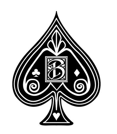 Ausgefallener schwarzer Spaten-Kartenanzug mit B-Monogramm.