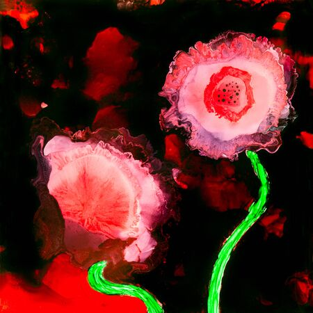 Stunning alcohol ink red poppies with detail of the chemical reactions occurring in the painting.