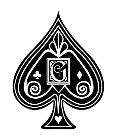 Fancy black Spade card suit, with G monogram.  イラスト・ベクター素材