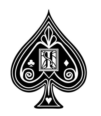 Fancy black Spade card suit, with I monogram.  イラスト・ベクター素材
